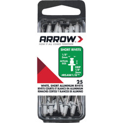 Arrow 1/8 In. x 1/8 In. White Aluminum Rivet (25 Count) RSAW1/8