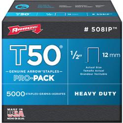 Arrow T50 Pro-Pack Heavy-Duty Staple, 1/2 In. (5000-Pack) 508IP