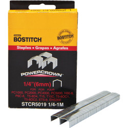Bostitch Powercrown Hammer Tacker Staple, 1/4 In. (1000-Pack) Pack of 5