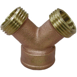 Anderson Metals 3/4 In. MNT x 3/4 In. MNH x 3/4 In. FNH Brass Wye Hose Shutoff