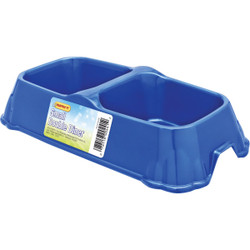 Westminster Pet Ruffin' it Plastic Rectangle Small Double Pet Food Bowl 00441