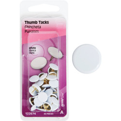 Hillman Anchor Wire White 23/64 In. x 15/64 In. Thumb Tack (40 Ct.) 122674