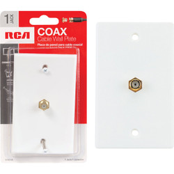 RCA White Single F-Connector Coaxial Wall Plate VH61R