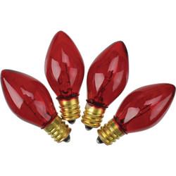 J Hofert C7 Red Transparent 125V Replacement Light Bulb (4-Pack) 1415-03