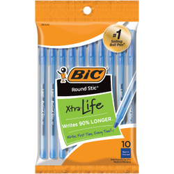 Bic Round Stic Medium Point Blue Ball Pen (10-Pack) GSMP101BLU