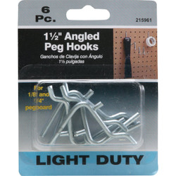 1-1/2 In. Angled Pegboard Hook (6-Count) 216100