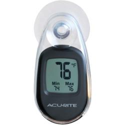 Acurite -4 deg F to 158 deg Fahrenheit Black Window Thermometer 00318A1