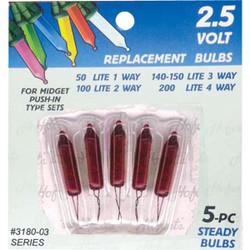 J Hofert Mini Red 2.5V Replacement Light Bulb (5-Pack) 3180-03