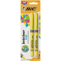 Bic Brite Liner Grip Chisel Tip Yellow Highlighter (2-Pack) GBLP21