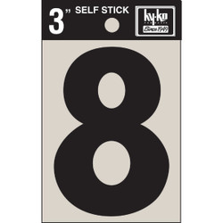 Hy-Ko Vinyl 3 In. Non-Reflective Adhesive Number Eight 30408 Pack of 10