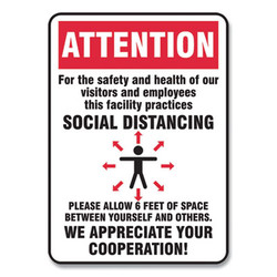 Accuform Sign,Social Distance 10x7 MGNG902VPESP
