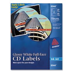 Inkjet Full-Face CD Labels, Glossy White, 20/Pack 8944