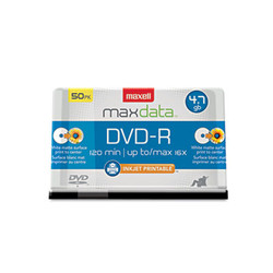 DVD-R Recordable Discs, Printable, 4.7GB, 16x, Spindle, White, 50/Pack 638022