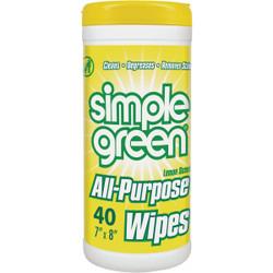 Simple Green Lemon 7 In. x 8 In. Multi-Purpose Wipes (40-Count) 3810001214101