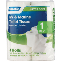 Camco RV & Marine 1-Ply Toilet Paper (4 Regular Rolls) 40275
