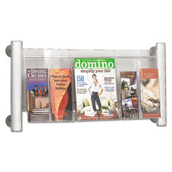 Luxe Magazine Rack, 3 Compartments, 31.75w x 5d x 15.25h, Clear/Silver 4133SL