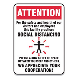 Accuform Sign,Social Distance 14x1 MGNG906VPESP