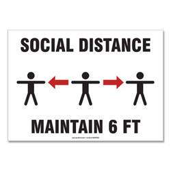 Accuform Sign,Social Distanc 10x14 MGNF546VPESP
