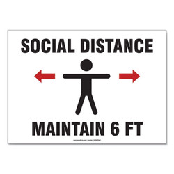 Accuform Sign,Social Distanc 10x14 MGNF542VPESP
