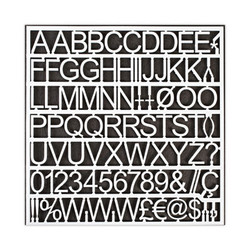 """White Plastic Set of Letters, Numbers and Symbols, Uppercase, 1"""" Dia. CAR1002"""