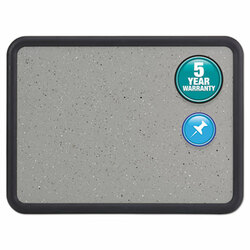 Contour Granite Gray Tack Board, 36 x 24, Black Frame 699370