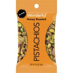Wonderful 2.25 Oz. Honey Roasted Shelled Pistachios 122217 Pack of 8
