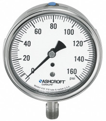 "Ashcroft Pressure Gauge,  0 to 60 psi Range,  1/4"" NPT,  ±1.50% Gauge Accuracy"