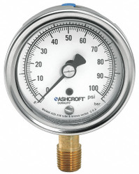 Ashcroft Gauge, Pressure, 304 SS, 3-1/2 in.   351009AW02L100#