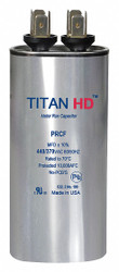 Titan Hd Round Motor Run Capacitor, 5 Microfarad Rating, 440VAC Voltage   PRCF5A