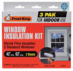 "Frost King Shrink/Seal Window Kit, 42"" W, 62"" L, Tape Clear  Polyolefin  V73/3H"