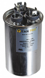 Round Motor Dual Run Capacitor, 20/5 Microfarad Rating, 370-440VAC Voltage