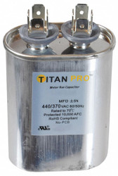 Titan Pro Oval Motor Run Capacitor, 7.5 Microfarad Rating, 370-440VAC Voltage