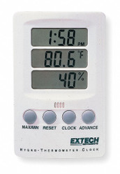 Extech Clock Digital Hygrometer, 14 to 140 F  445702