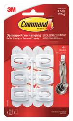 Command Adhesive Back Utility Hook, 1 Hook(s), Molded Plastic, 6 PK White  17006