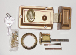 """Bronze Auxiliary Lock, Night Latch, For Door Thickness 1-3/8"""" to 2-1/4"""""""