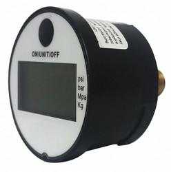 "0 to 145 psi Digital Pressure Gauge, 1-3/4"" Dial, 1/4"" MNPT Connection, Plastic"
