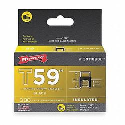 "Arrow Insulated Staple, T59, 13/64 L, PK300 Black 0.024 x 0.048"" Gauge  591189BL"