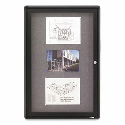 Enclosed Fabric-Cork Board, 24 x 36, Gray Surface, Graphite Aluminum Frame 2363L
