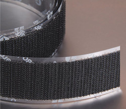 """Hook-Type Reclosable Fastener with Acrylic Adhesive, Black, 3/4"""" x 75 ft., 1EA"""