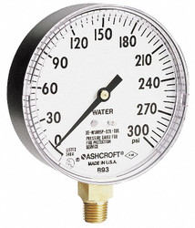 Ashcroft Pressure Gauge, 0 to 300 psi, 3-1/2In   35W1005PH02LXULZG300#-8382