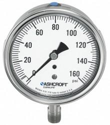 "Ashcroft Pressure Gauge,  0 to 100 psi Range,  1/4"" NPT,  ±1.50% Gauge Accuracy"