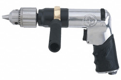 "0.4 HP Industrial Duty Keyed Air Drill, Pistol Style, 1/2"" Chuck Size"