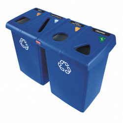 (4) 23 gal. Rectangular Recycling Station,  Plastic,  Blue