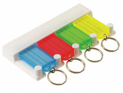 "5"" x 1/2"" Key Tag Rack Key Tag, Blue, Green, Red and Yellow; PK1"