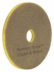 "17"" Non-Woven Polyester Fiber Round Scrubbing Pad, 175 to 600 rpm, Yellow, 5 PK"