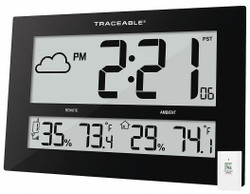 "10-1/2"" x 16-1/2"" Rectangle LCD Wall Clock, Black ABS Plastic Frame"