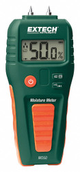 Extech Moisture Meter, LCD, 9V  Includes Battery and Protective Cap MO50
