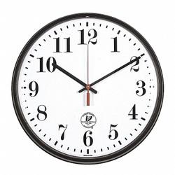 "12-3/4"" Round Wall Clock Arabic, Black High Impact Polystyrene Frame"