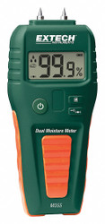 Extech Moisture Meter, LCD, 1 yr. Warranty  MO55