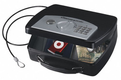 "10"" x 8"" x 3"" Portable Safe, Black; Holds Cell Phones, Wallets, iPods, GPS Units"